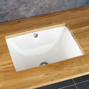Rectangle Undercounter White Inset Bathroom Sink 470mm x 330mm VALONGO