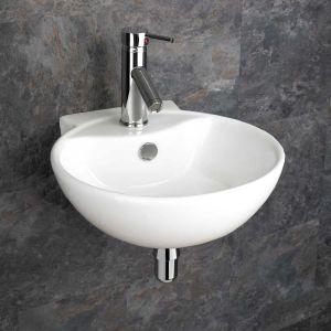 Wall Mounted White Round Modern Bathroom Sink 400mm x 430mm UDINE