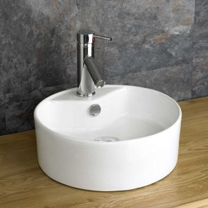 £39 VALUE RANGE Small Round Countertop Bathroom Handbasin 380mm | Free Delivery | VALO