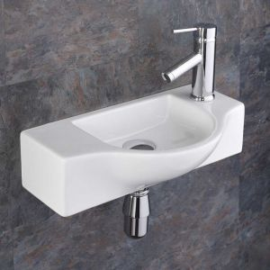 Narrow Slimline Wall Hung Cloakroom Hand Basin 440mm x 245mm VITERBO