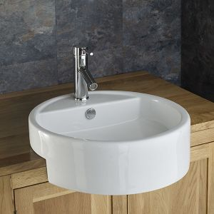 £39 VALUE RANGE Large Semi Recessed Round Washbasin 490mm | Free Delivery | VITORIA