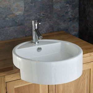 Large Semi Recessed Bathroom Basin Round in White Ceramic 480mm Diameter Sink Vitoria