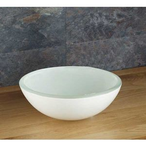 Small Above Counter White Glass Round Bathroom Bowl 280mm SAVONA