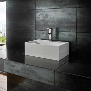 Above Counter Stone Resin Rectangle Bathroom Sink 450mm x 300mm KIVA