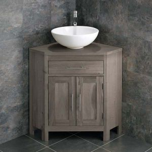 Large Bathroom Grey Wash Solid Oak Corner Bathroom Vanity Cabinet + Round Basin Set ALTALG