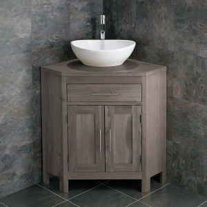 Large Bathroom Grey Wash Solid Oak Corner Bathroom Vanity Cabinet + Oval Basin Set ALTALG