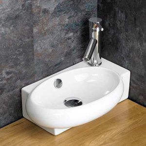 £39 VALUE RANGE Narrow Countertop Cloakroom Right Hand Basin | Free Delivery | LECCE R