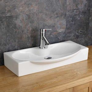Above Counter Large White Modern Bathroom Basin 690mm x 340mm LIVORNO