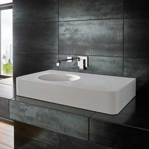 Rectangle Stone Resin White Counter Bathroom Basin 800mm by 480mm MAZE