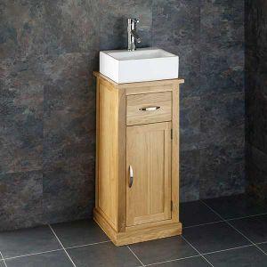 Cloakroom Oak Bathroom Storage Unit + Small Rectangle Basin Set CUBE37
