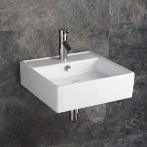 Large Square Wall Hung Bathroom Basin in White Ceramic 460mm Square Sink Napoli