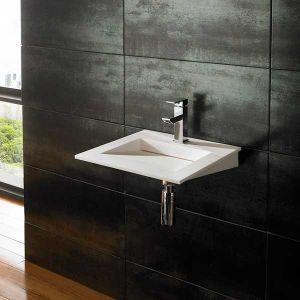 Wall Hung White Stone Resin Modern Square Bathroom Basin 400mm NERO