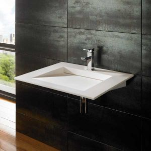 Wall Hung Rectangle Stone Resin Bathroom Basin 600mm x 500mm NERO