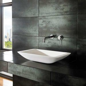 Freestanding Modern Stone Resin White Rectangle Bathroom Basin 560mm x 350mm NOVA