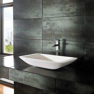 Freestanding Modern Stone Resin White Rectangle Bathroom Basin 560mm x 350mm NOVA