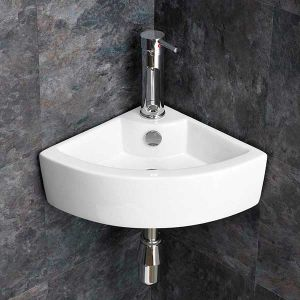 Wall Mounted Small Corner Cloakroom Basin Sink 310mm Wall Edge | OLBIA