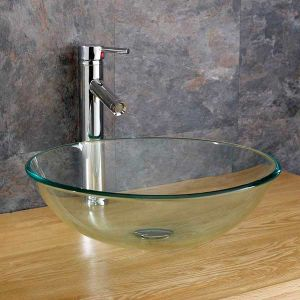 Counter Mounted Round Clear Glass Bathroom Bowl Basin 310mm MONZA
