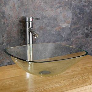 Freestanding Clear Square Glass Bathroom Washbasin Bowl 310mm MONZA