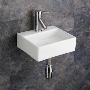 Wall Mounted Small Rectangular Cloakroom Ensuite Basin 330mm x 290mm SALERNO