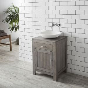 Grey Wash Solid Oak 600mm Bathroom Cabinet + Matt Round Deva Basin Set ALTA60G