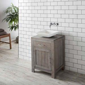 Grey Wash Solid Oak 600mm Bathroom Cabinet + Matt Square Agio Basin Set ALTA60G