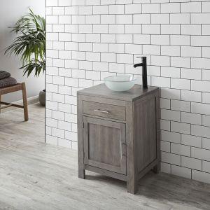 Grey Wash Solid Oak 600mm Bathroom Cabinet with Frosted Basin Set ALTA60G