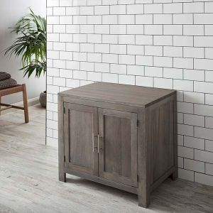 Freestanding Large Grey Wash Large Two Door Solid Oak Bathroom Vanity Cabinet 900mm ALTA90G