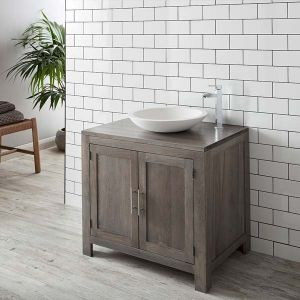 Large Grey Wash Solid Oak Bathroom Vanity Cabinet 900mm + Round Solid Surface Basin Set ALTA90G