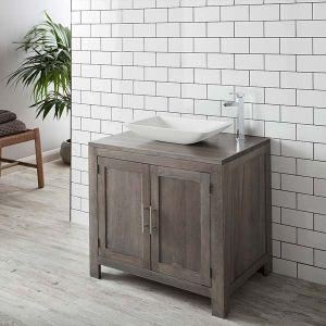 Grey Wash Large Solid Oak Bathroom Vanity Cabinet 900mm + Rectangle Solid Surface Basin Set ALTA90G