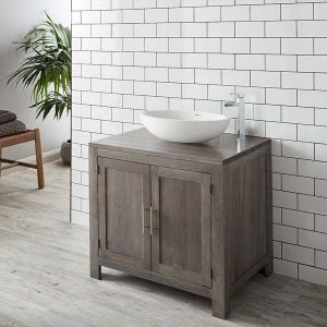 Freestanding Grey Wash Oak Bathroom Vanity Cabinet 900mm + Oval Solid Surface Basin Set ALTA90G