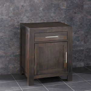 Solid Dark WENGE Oak Single Door Bathroom Basin Cabinet Set ALTA60W