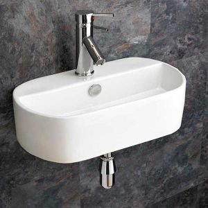 Wall Mounted Oval Ceramic Bathroom Washbasin 440mm x 300mm SIENNA