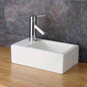 Compact Countertop Rectangle Cloakroom Basin 360mm x235mm TARANTO LEFT