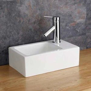 Small Slim Countertop Rectangle Basin Right Hand 360mm x 235mm TARANTO