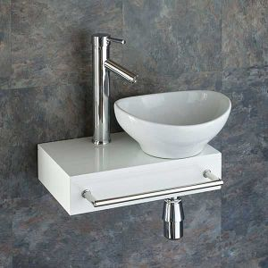 Narrow Floating White Bathroom Shelf + Oval Basin Set | TOULON BOLOGNA