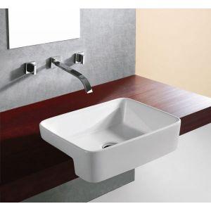 Large Semi Recessed Bathroom Basin 480mm x 370mm in White Ceramic Fosha