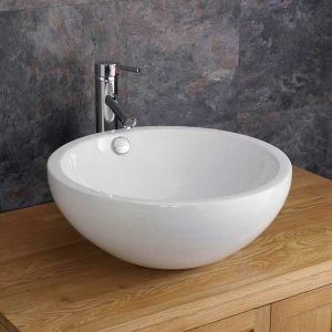 Freestanding Deep Round White Ceramic Bathroom Basin 440mm Diameter TRENTO