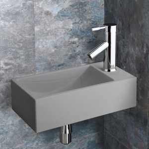 Valletri Matte Grey Stone Basin with Chrome Tap