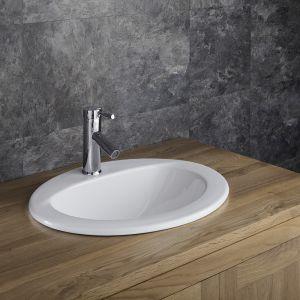 White Ceramic Self Rimming Oval Bathroom Basin 520mm x 430mm VIDA
