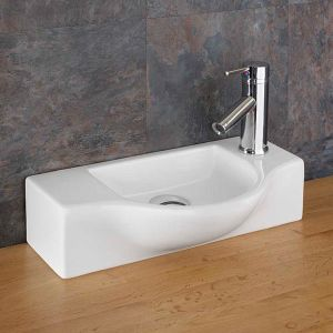 Above Counter Narrow Cloakroom Hand Basin Slim 440mm x 245mm VITERBO