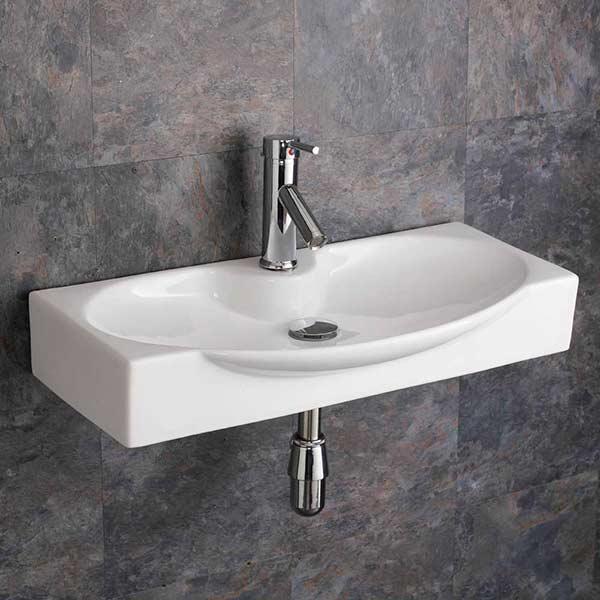 Bathroom Sinks Ebay Uk rectangular wall mountable basin sink with tap and waste