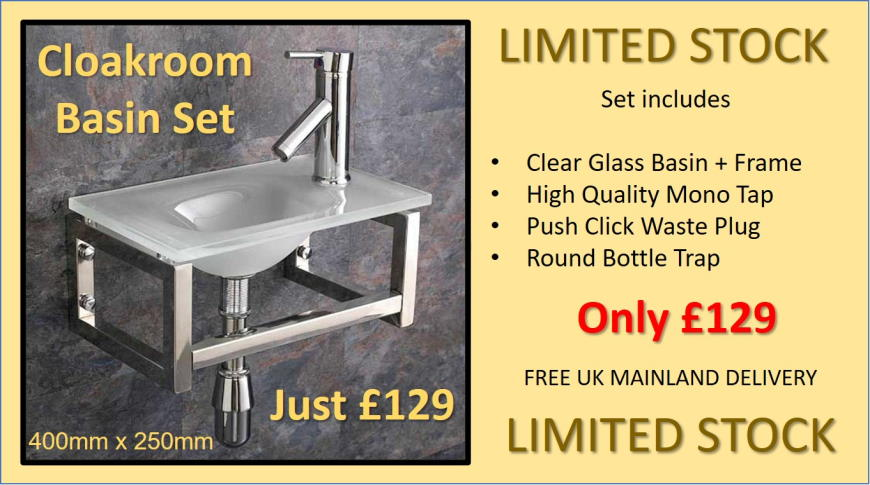Glass Cloakroom Basin Set with tap waste trap Sale