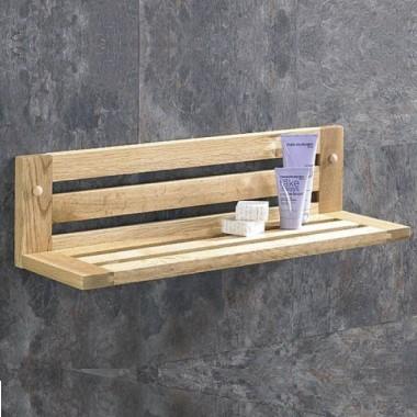 oak bathroom shelves
